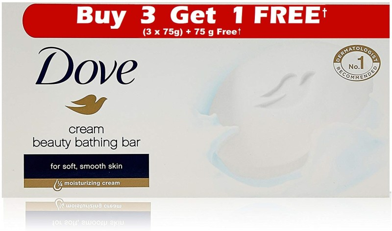 Dove Cream Beauty Bathing Bar Buy 3 Get 1 Free (3x75g+75g)(300 g, Pack of 4)
