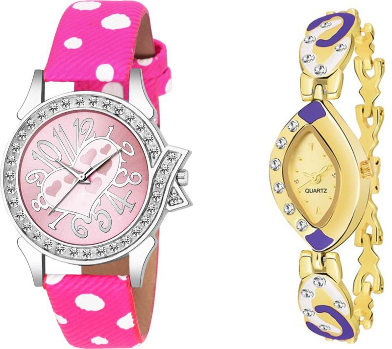 leaperd Pink Heart In LOve Dial And New Leather Strap Combo Of Two UU~02 For Women And Girls Analog Watch  - For Women
