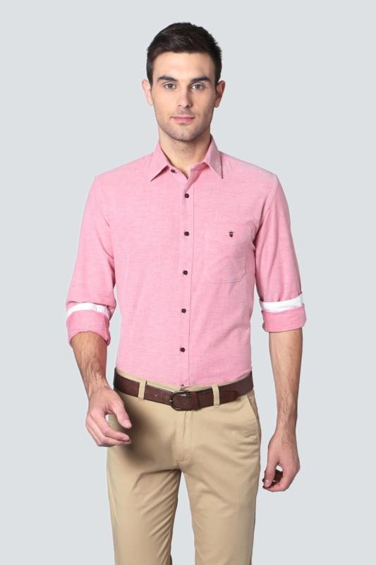 Louis Philippe Men Self Design Casual Pink Shirt