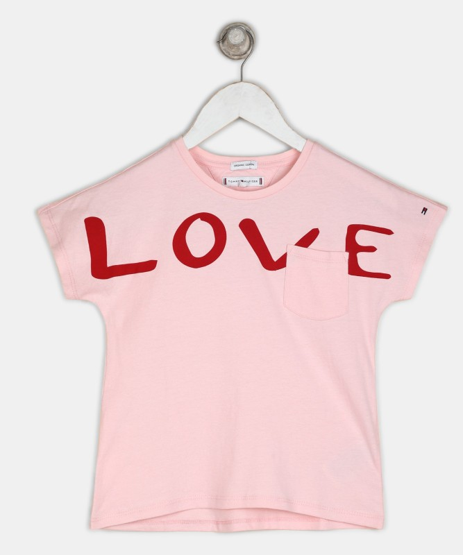 Tommy Hilfiger Girls Printed Pure Cotton T Shirt(Pink, Pack of 1)