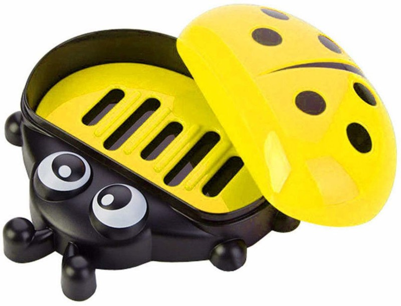 MORGES New Arrival Soap Dish Lady Bug Soap Dish Holder for Kids Bathroom(Yellow)