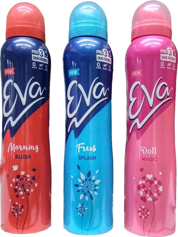 EVA Deodorant Spray Morning,, Fresh & Doll 125ml Comboo Deodorant Spray - For Girls(125 ml, Pack of 3)