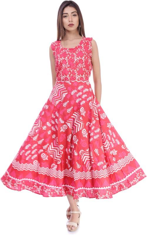 Shinaya Women Printed Anarkali Kurta(Pink)