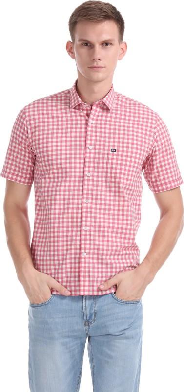 Arrow New York Men Checkered Casual Pink, White Shirt