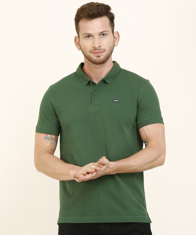 Levi's Solid Men Polo Neck Green T-Shirt