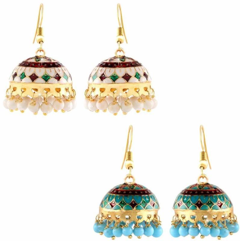 YELLOW CHIMES Handcrafted Meenakari Carftmanship Combo 2 Pairs Traditional Jhumka Copper Jhumki Earring