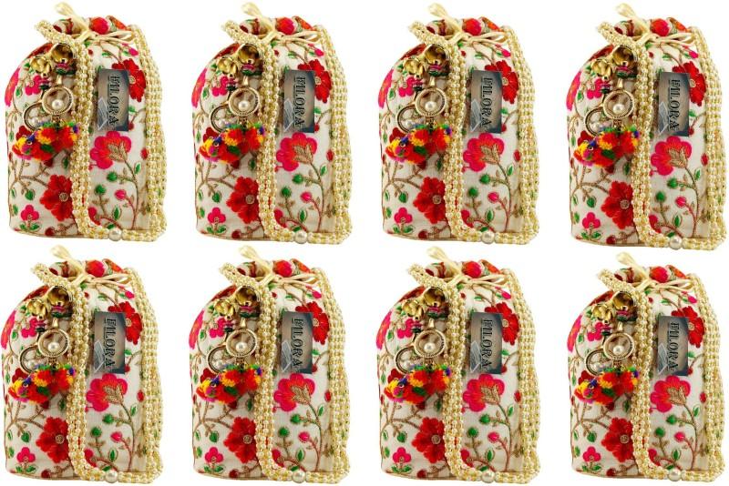 AILTINO Women's Ethnic Rajasthani Silk Potli Bag Potli Purse Bridal Purse ( Set of 8 Potlis ) Potli(Multicolor)