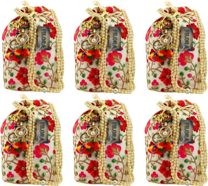 AILTINO Women's Ethnic Rajasthani Silk Potli Bag Potli Purse Bridal Purse ( Set of 6 Potlis ) Potli(Multicolor)
