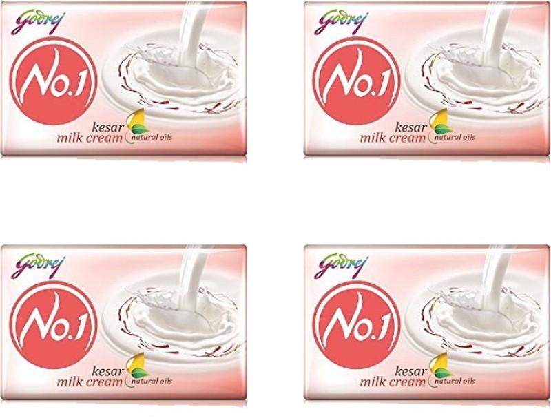 Godrej No 1 kesar milk cream 100 gm soap pack (pack of 4)(400 g, Pack of 4)