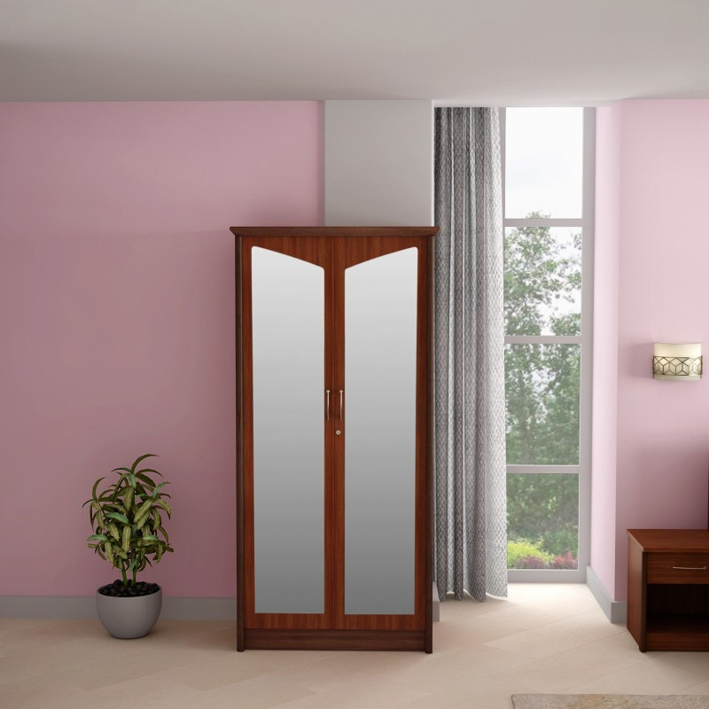 Godrej Interio Adriana 2 Door Wardrobe Walnut Engineered Wood 2 Door Wardrobe(Finish Color - Walnut, Mirror Included)