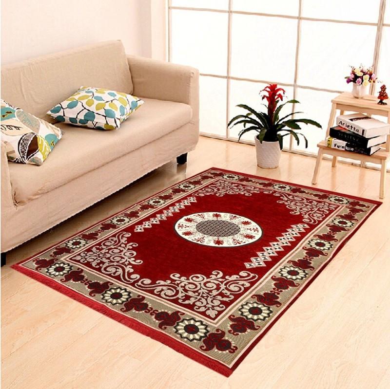 Crosmo Maroon Chenille Carpet(152 cm X 213 cm)