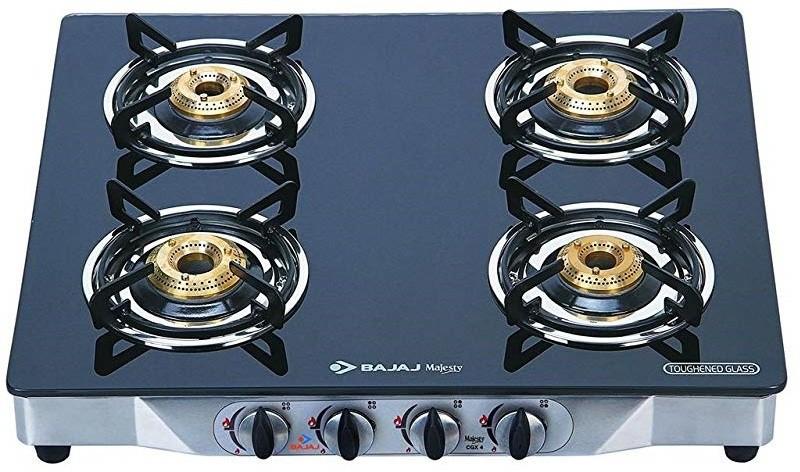 Bajaj Stainless Steel, Glass Manual Gas Stove(4 Burners)