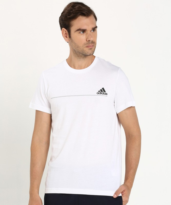 ADIDAS Printed Men Round Neck White T-Shirt