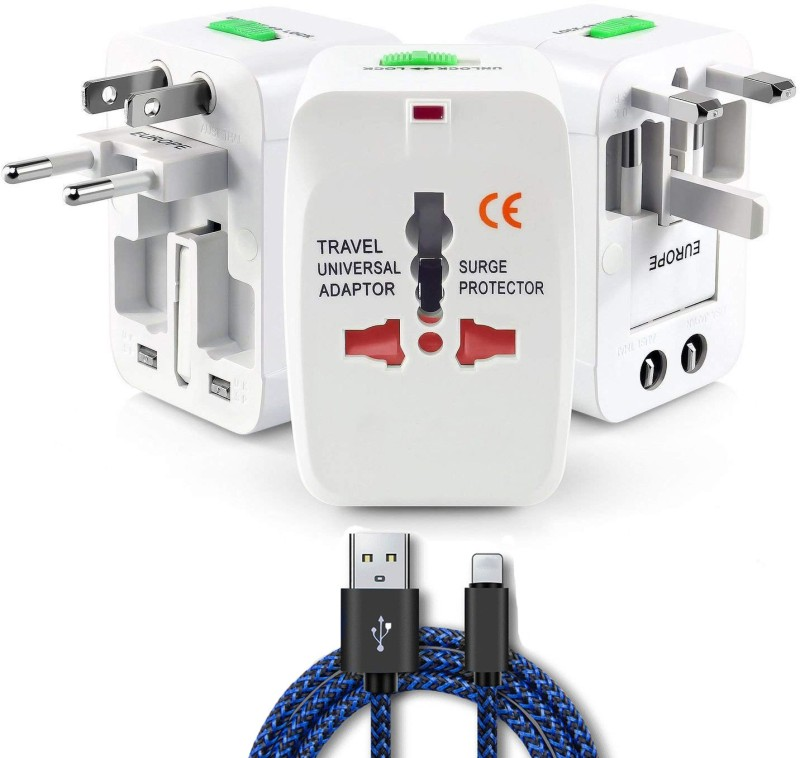 Trajectory Universal Travel Adapter and Iphone USB Cable Worldwide Adaptor(White)