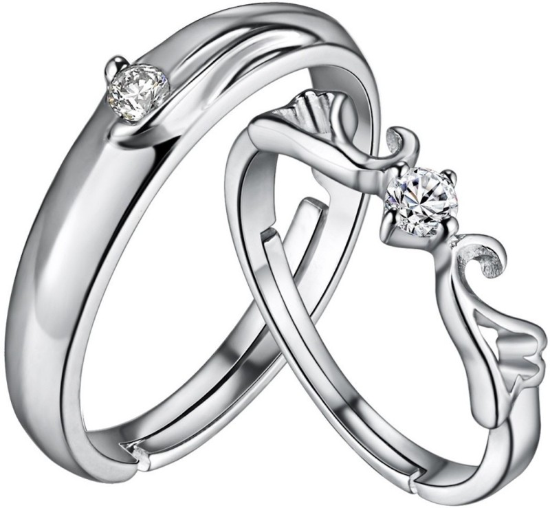 Nilu's Collection Platinum Plated Romantic Adjustable Imperial Crown and Cross Couple Ring for Men and Women (Design 1) Metal Platinum Plated Ring Set