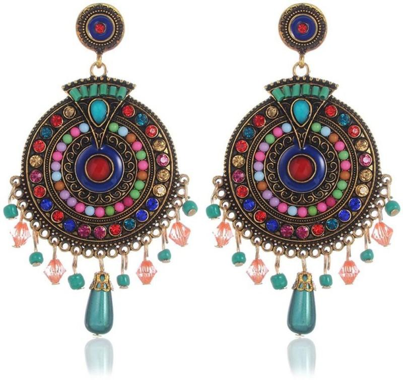 Shining Diva Colorful Bohemian Stylish Fancy Party Wear Earrings Crystal Alloy Drops & Danglers
