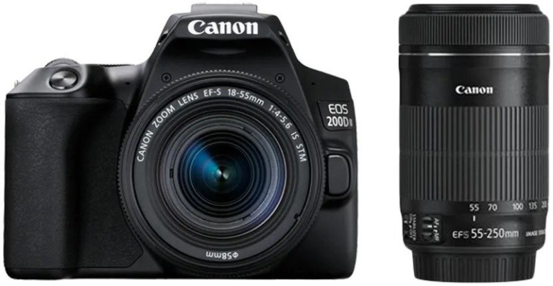 Canon EOS 200D II DSLR Camera Body with Dual Lens 18 - 55 mm f/4 - 5.6 IS STM and 55 - 250 mm f/4 - 5.6 IS STM(Black)
