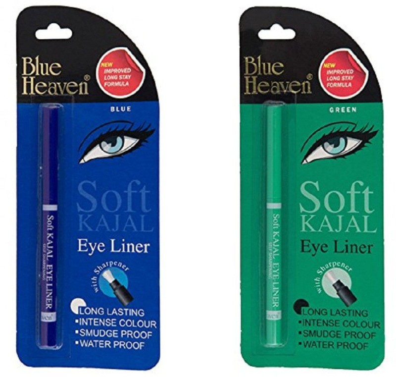 Blue Heaven Combo of Soft Kajal (Blue) & Soft Kajal (Green) 0.62 g(Multicolor)