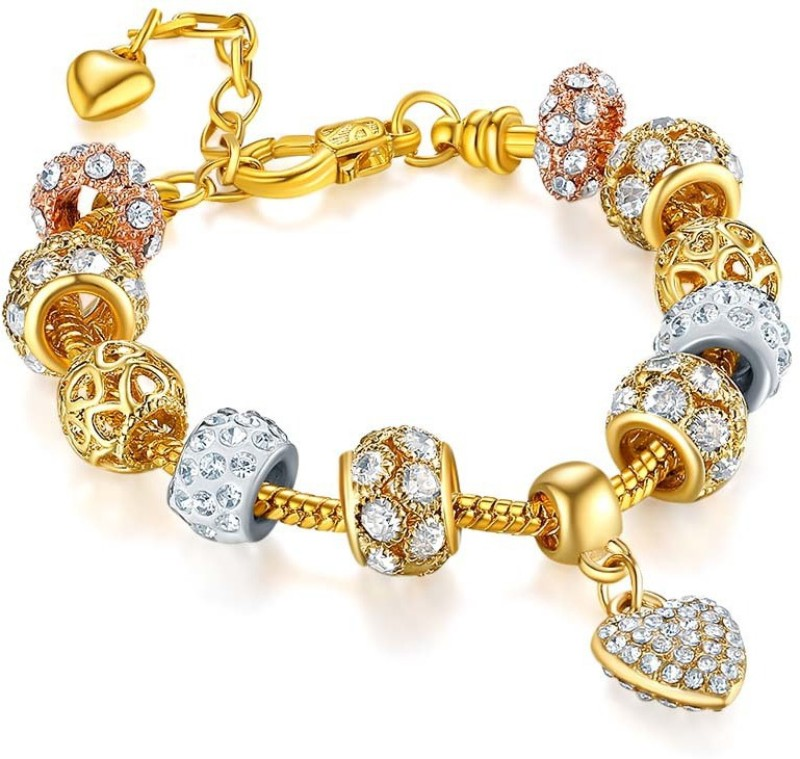 Jewels Galaxy Copper Crystal Gold-plated Charm Bracelet