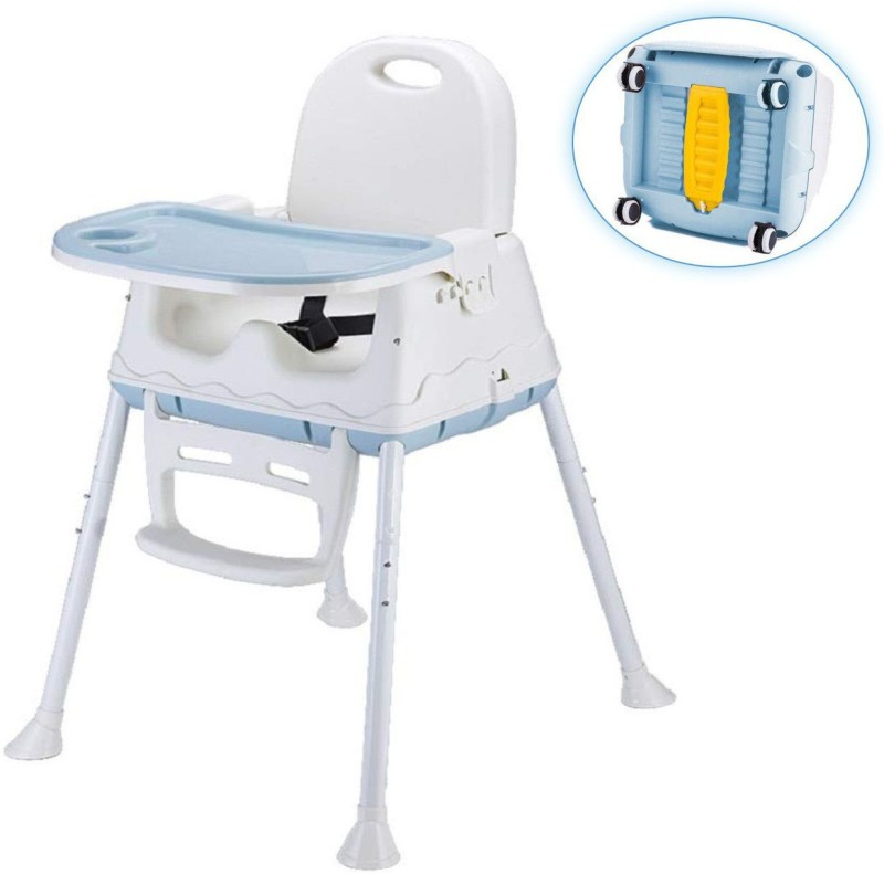 SYGA High Chair for Baby Kids, Safety Toddler Feeding Booster Seat Dining Table Chair with Wheel(Blue)