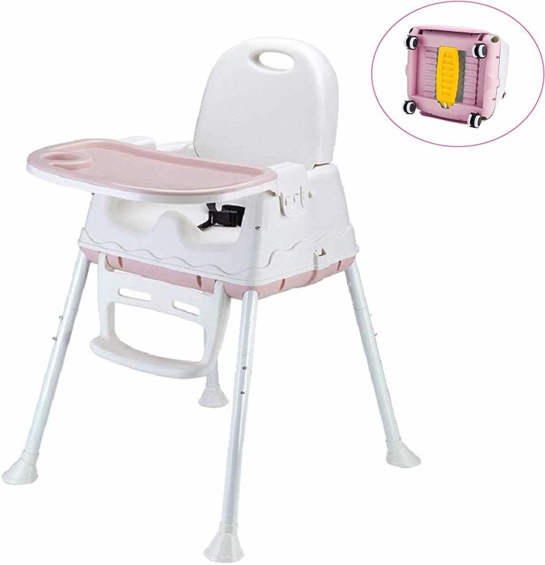 SYGA High Chair for Baby Kids, Safety Toddler Feeding Booster Seat Dining Table Chair with Wheel(Pink)