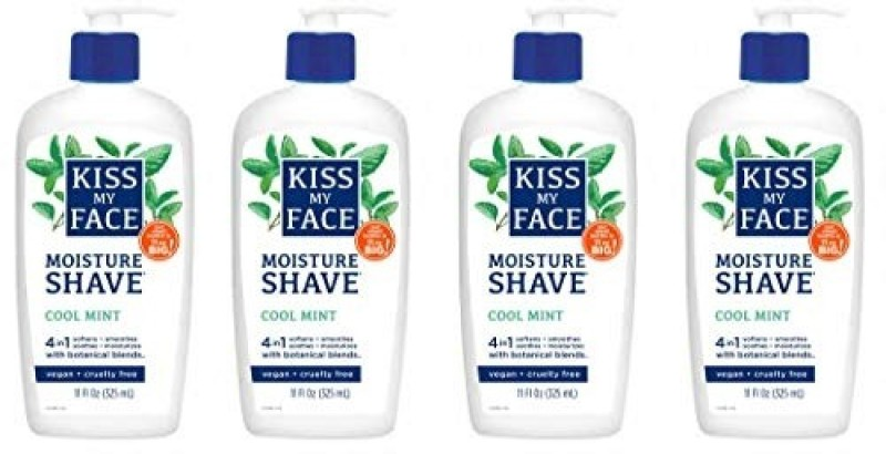 Kiss My Face 4in1 Moisture Shave Cool Mint 11 oz Pack of 4 Shaving Soap(4 g)