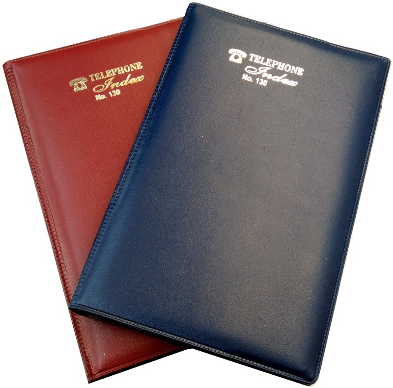 Excel Telephone Index & Address Book 130 no. Set of 2 Leather cover Hardcover Address Book