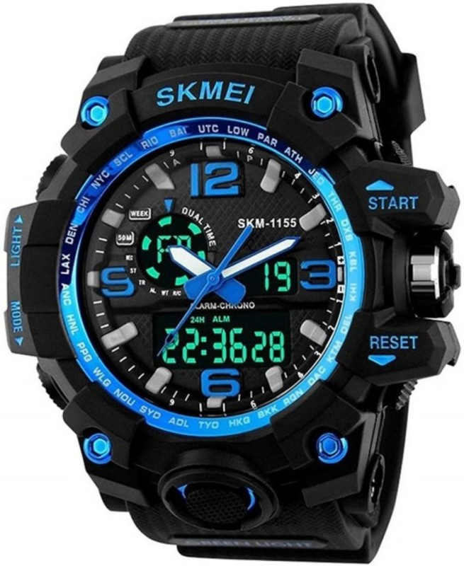 Eagle Fly SKMEI Sports Multifunctional Dual Time Digital Blue Dial Men's Watch Waterproof Analog-Digital Watch - For Boys