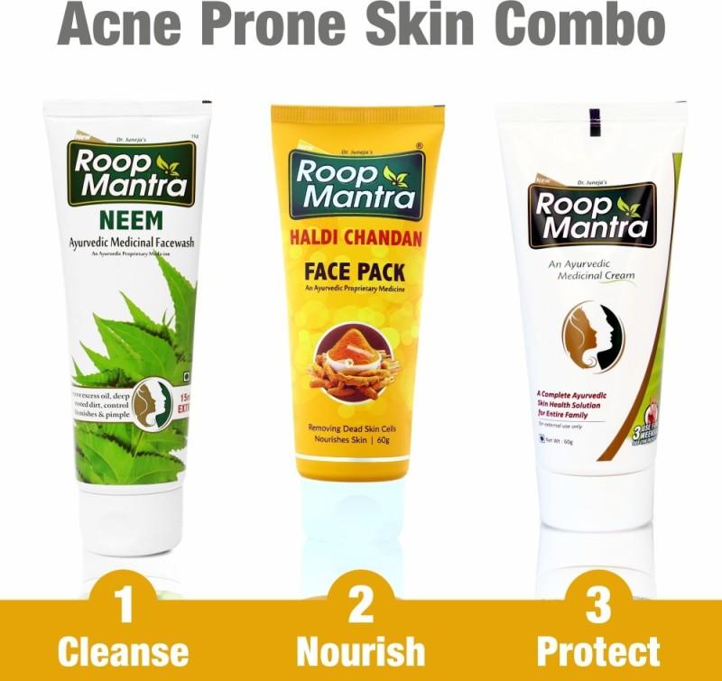 Roop Mantra Acne Prone Skin Care Kit (Neem Facewash 115ml, Haldi Chandan Face Pack 60gm, Face Cream 60gm)(3 Items in the set)