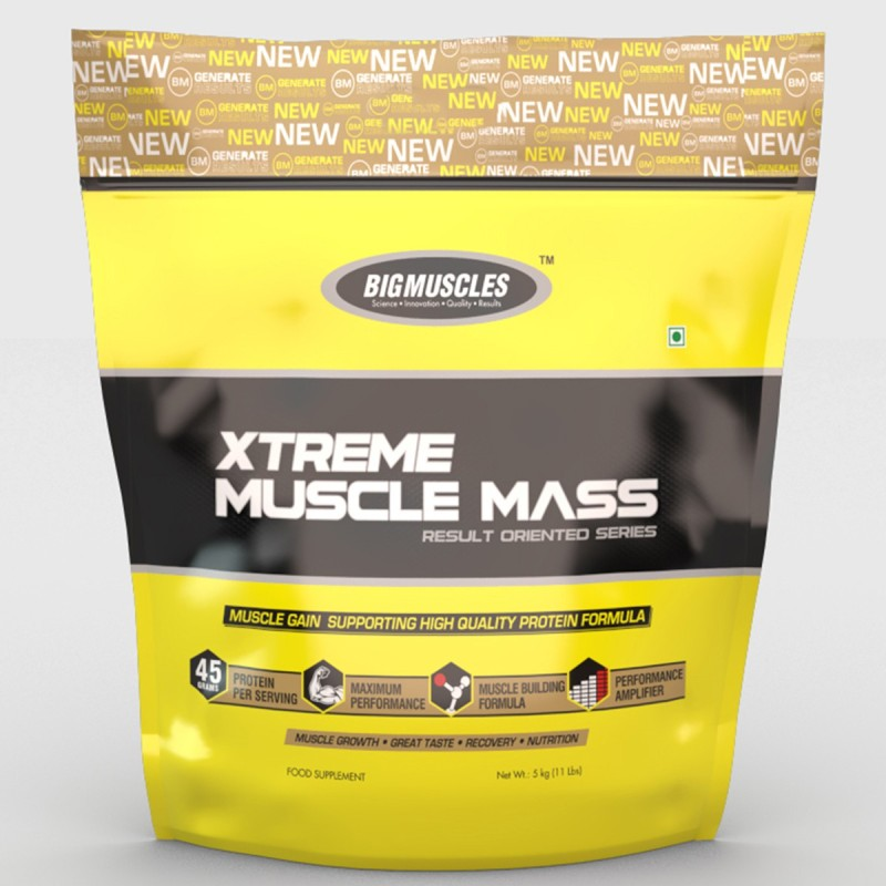 BIGMUSCLES NUTRITION Xtreme Muscle Mass Weight Gainers/Mass Gainers(11 pounds, Cookie & Cream)