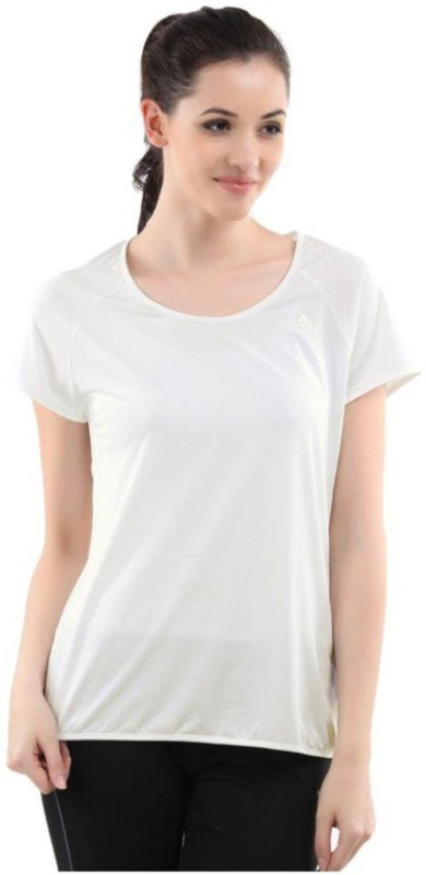 ADIDAS Solid Women Round Neck White T-Shirt