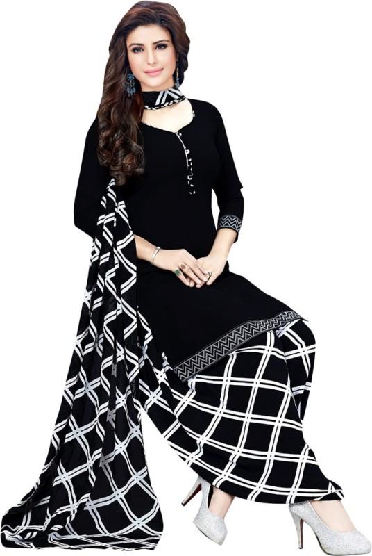 Saara Crepe Checkered Salwar Suit Material(Unstitched)