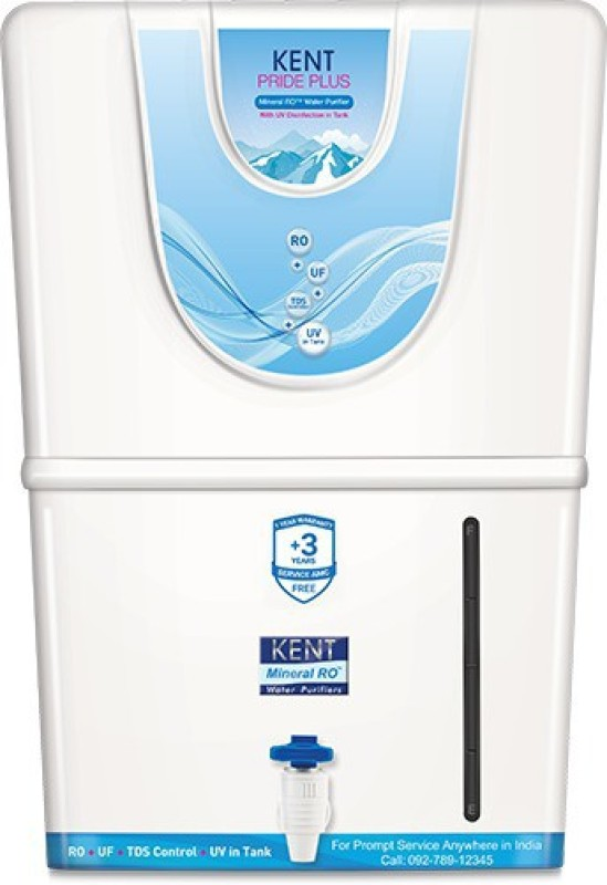 KENT RO Pride Plus 8 L RO + UV + UF + TDS Water Purifier(Whire)
