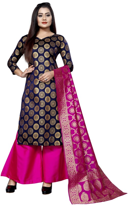 SATYAM WEAVES Brocade Self Design Salwar Suit Material(Unstitched)