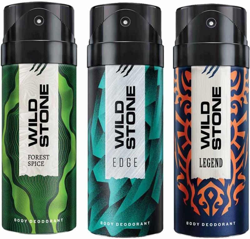 Wild Stone Edge & Legend & Forest Spice Deodorant Spray - For Men(450 ml, Pack of 3)