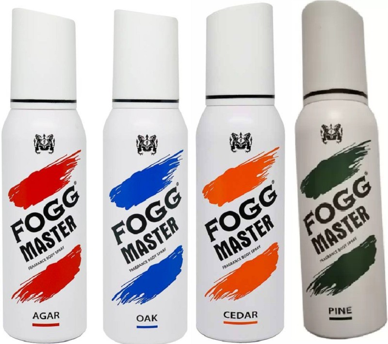 Fogg BODY SPRAY MASTER PINE CADER,OAK ,AGAR Deodorant Spray - For Men & Women(480 ml, Pack of 4)