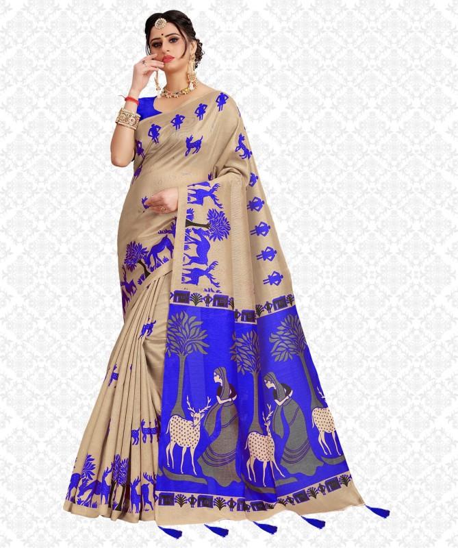 Divastri Printed, Embellished, Self Design, Animal Print Fashion Cotton Silk, Khadi Silk Saree(Blue, Beige)