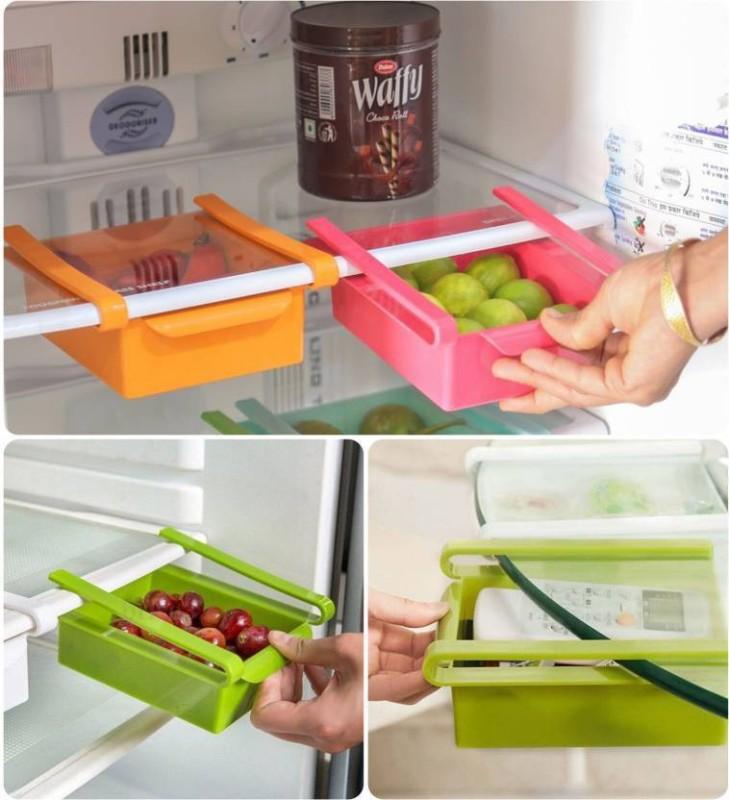 Floraware Fridge Space Saver Organizer Slide Storage Rack Shelf Drawer,(Set Of 4) Plastic Kitchen Rack(Multicolor)
