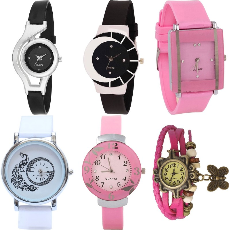 NIKOLA Treading Analogue World Cup,Peacock,Flower And Butterfly Analogue Black,Pink And White Color Girls And Women Watch - G1-G8-G14-G23-G26-G63 (Combo Of 6 ) combo watch Analog Watch  - For Girls