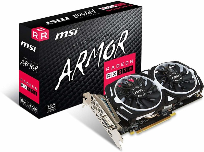 MSI AMD/ATI RADEON RX 570 ARMOR 8G 8 GB GDDR5 Graphics Card(Black)