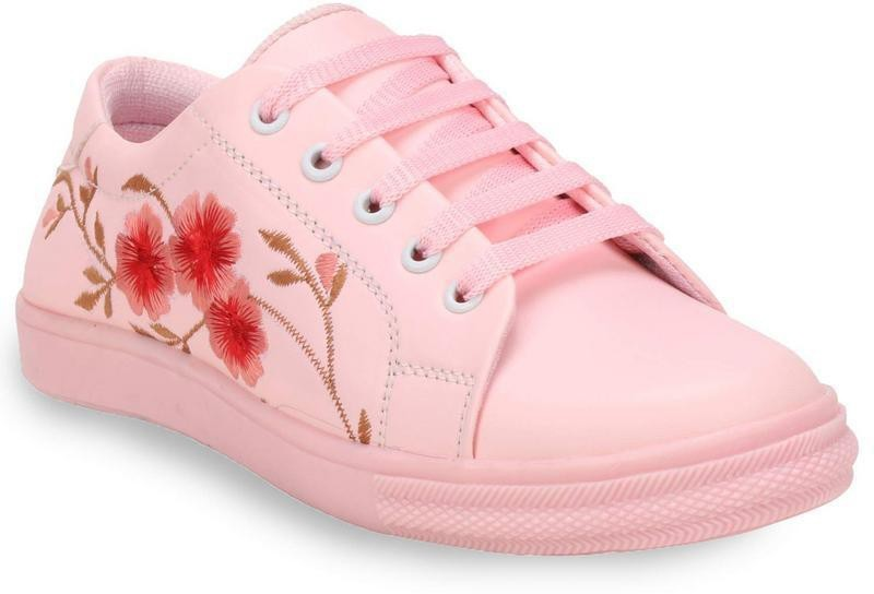 Commander Embroidery Casual Sneakers For Women(Pink)