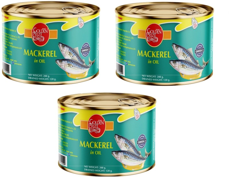 Golden Prize Mackerel in Oil, 200g (Pack of 3) Sea Foods(600 g, Pack of 3)