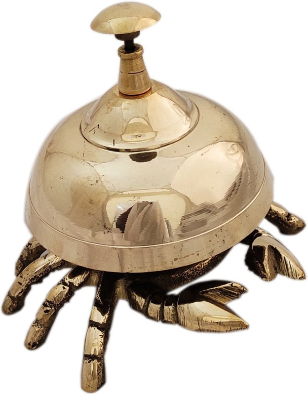 Artshai Antique Brass Crab Design Table Call Bell for Office Desk and Hotels Counter Brass Desk Bell(Pack of 1)