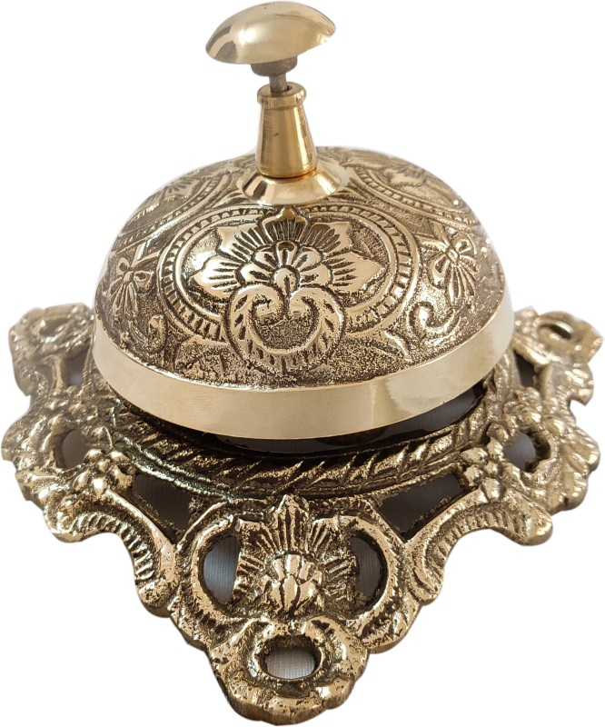Artshai Solid Brass Designer (Floral Pattern) Desk & Office Service Table Call Bell Brass Desk Bell(Pack of 1)