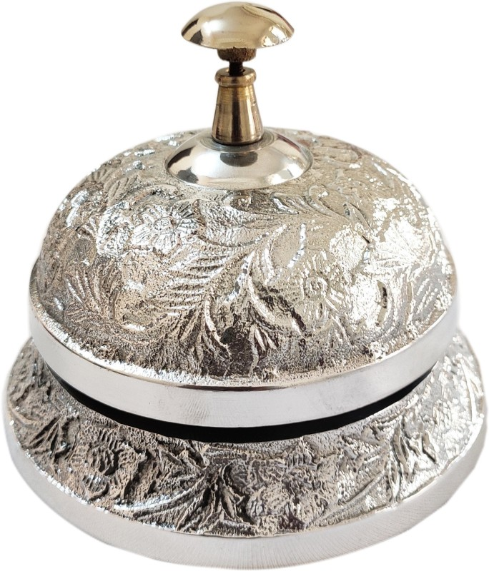 Artshai Antique Silver Finish Office Table Hotel Counter Call Ring Bell Brass Desk Bell(Silver, Pack of 1)