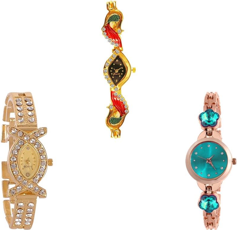 NIKOLA Modern Analogue Peacock And Flower Dimond Analogue Gold And Rose Gold Color Girls And Women Watch - G117-G125-G341 (Combo Of 3 ) combo watch Analog Watch  - For Girls