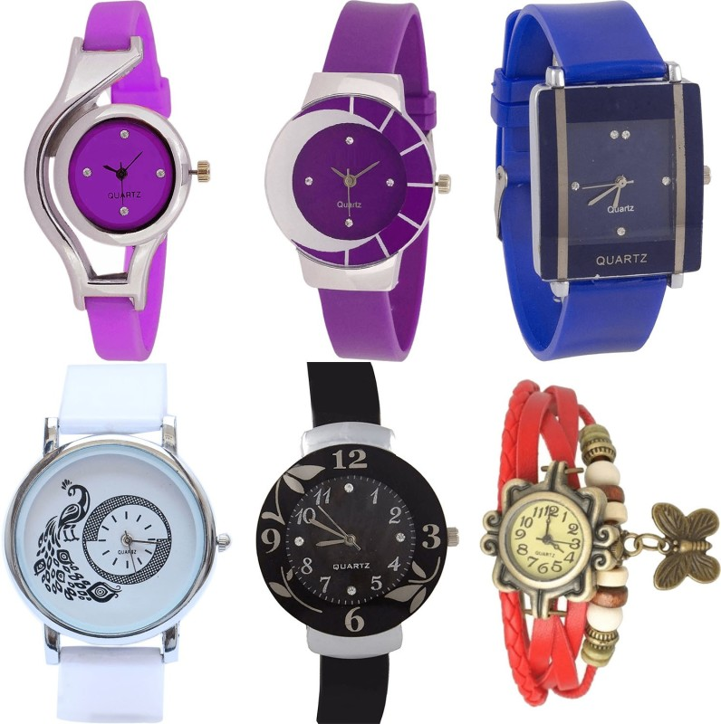 NIKOLA Modern Analogue World Cup,Peacock,Flower And Butterfly Analogue Purple,Blue,White,Black And Red Color Girls And Women Watch - G4-G10-G13-G23-G24-G65 (Combo Of 6 ) combo watch Analog Watch  - For Girls