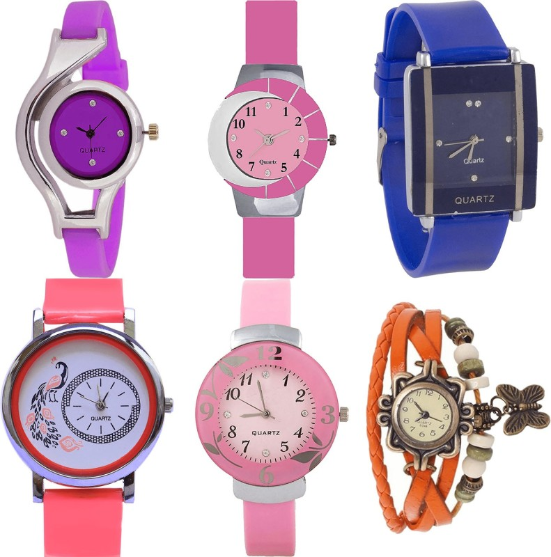 NIKOLA Treading Party Wedding World Cup,Peacock,Flower And Butterfly Analogue Purple,Pink,Blue,Red And Orange Color Girls And Women Watch - G4-G9-G13-G22-G26-G62 (Combo Of 6 ) combo watch Analog Watch  - For Girls