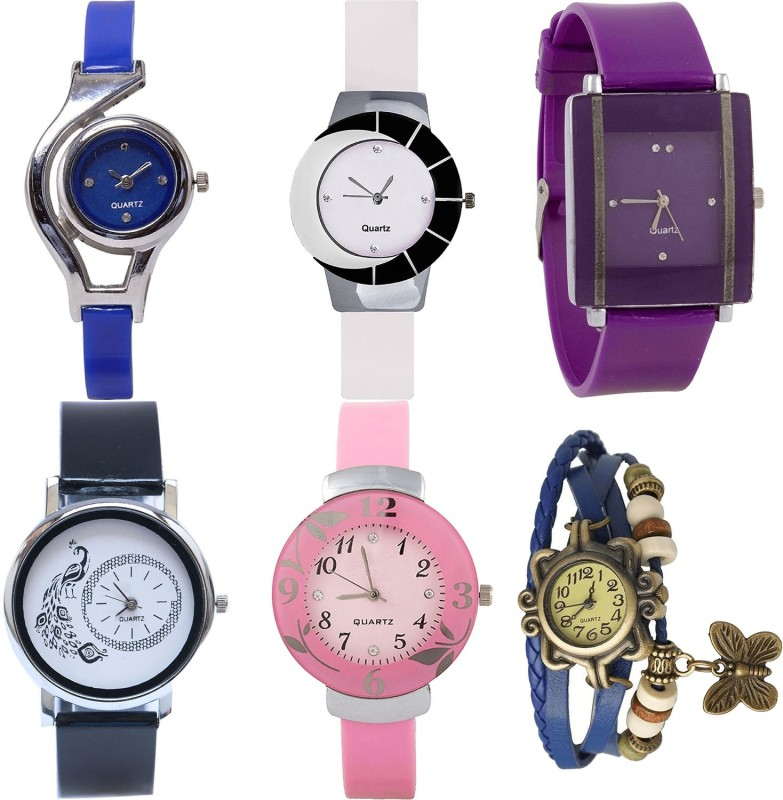NIKOLA New Style World Cup,Peacock,Flower And Butterfly Analogue Blue,White,Purple,Black And Pink Color Girls And Women Watch - G2-G11-G15-G18-G26-G59 (Combo Of 6 ) combo watch Analog Watch  - For Girls