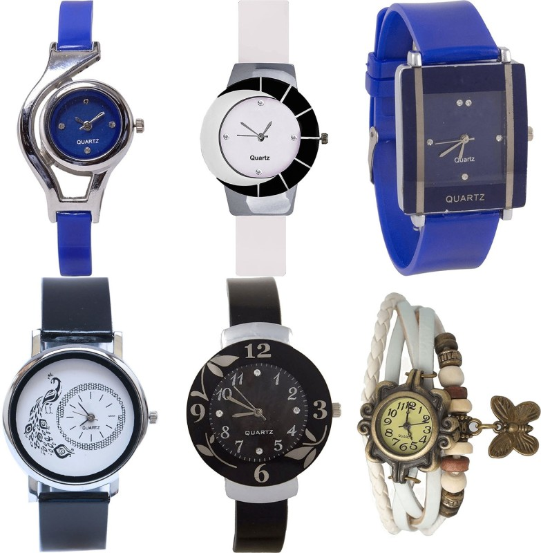 NIKOLA Modish Party Wedding World Cup,Peacock,Flower And Butterfly Analogue Blue,White And Black Color Girls And Women Watch - G2-G11-G13-G18-G24-G66 (Combo Of 6 ) combo watch Analog Watch  - For Girls
